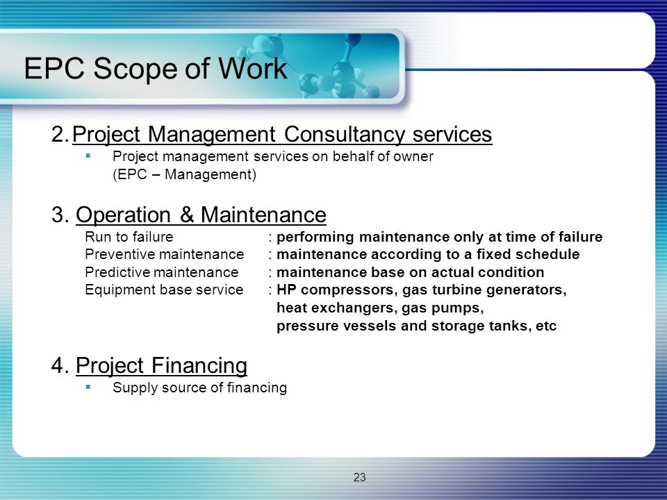 EPC Scope of Work 2. Project Management Consultancy services