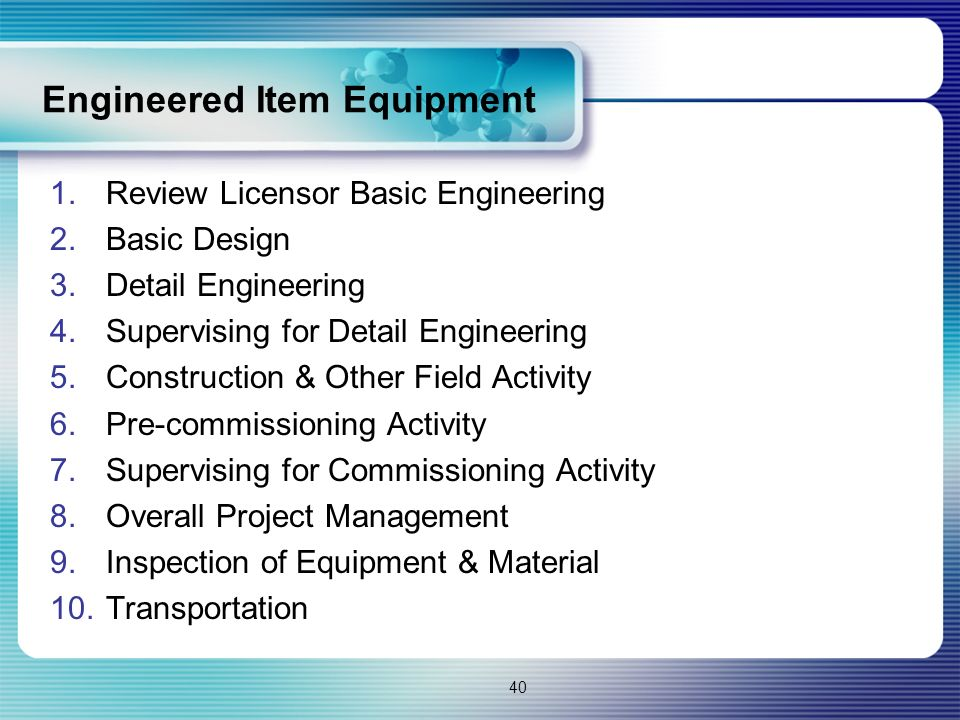 Engineered Item Equipment