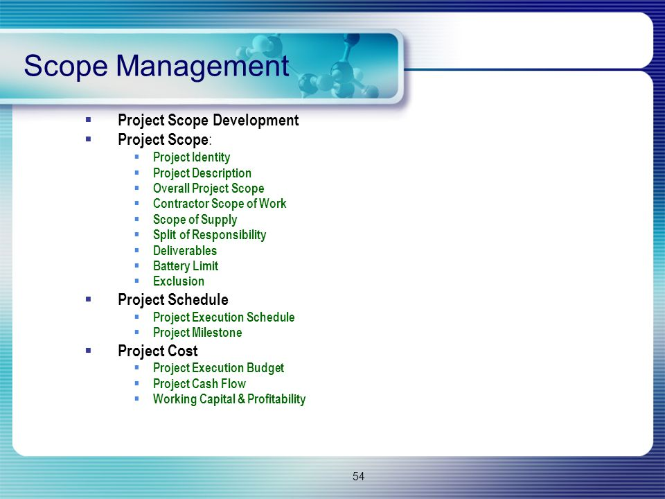 Scope Management Project Scope Development Project Scope: