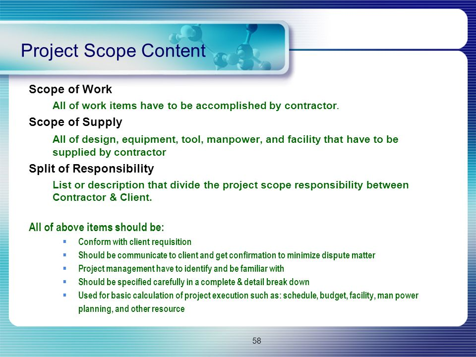 Project Scope Content Scope of Work Scope of Supply