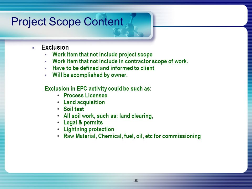 Project Scope Content Exclusion