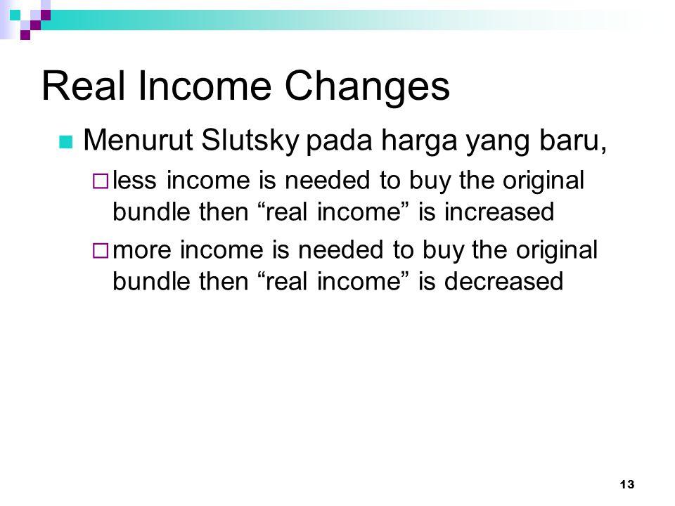 Real Income Changes Menurut Slutsky pada harga yang baru,