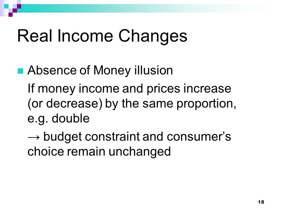 Real Income Changes Absence of Money illusion