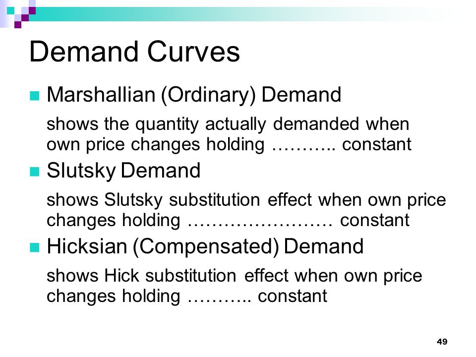 Demand Curves Marshallian (Ordinary) Demand