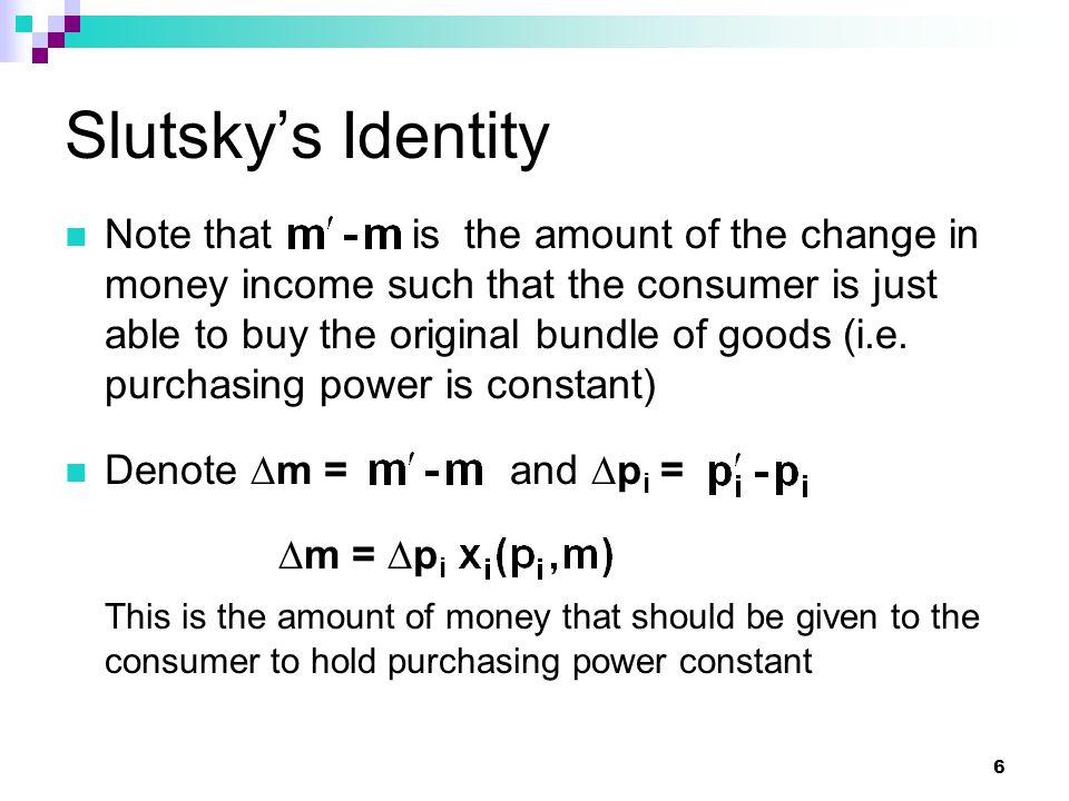 Slutsky's Identity