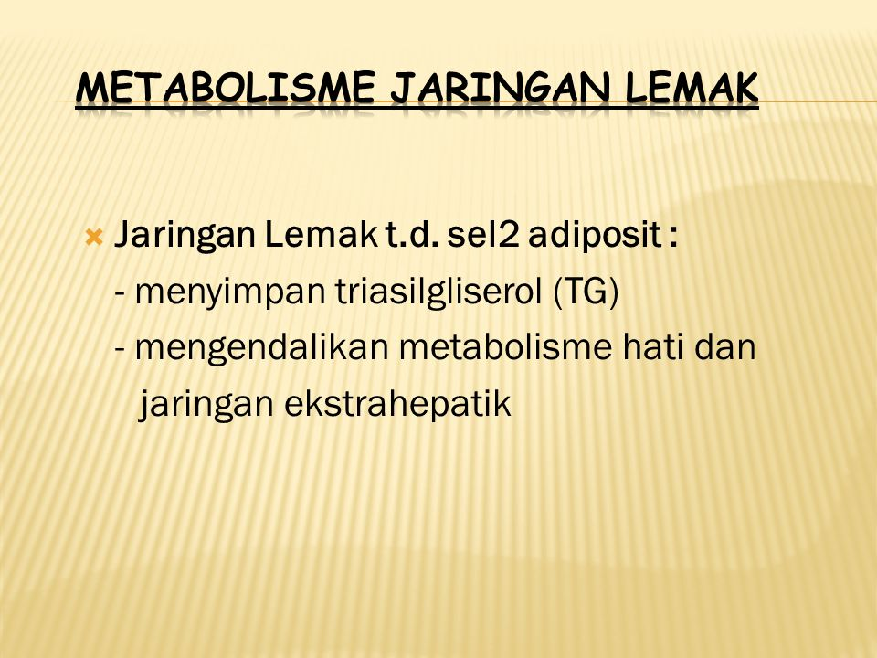 METABOLISME JARINGAN LEMAK