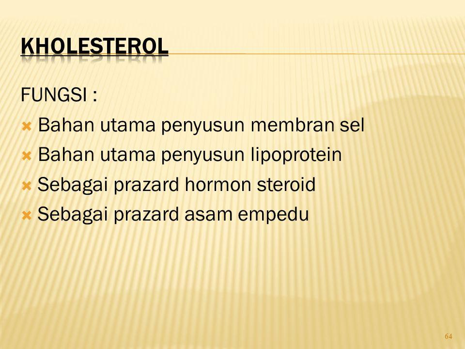KHOLESTEROL FUNGSI : Bahan utama penyusun membran sel