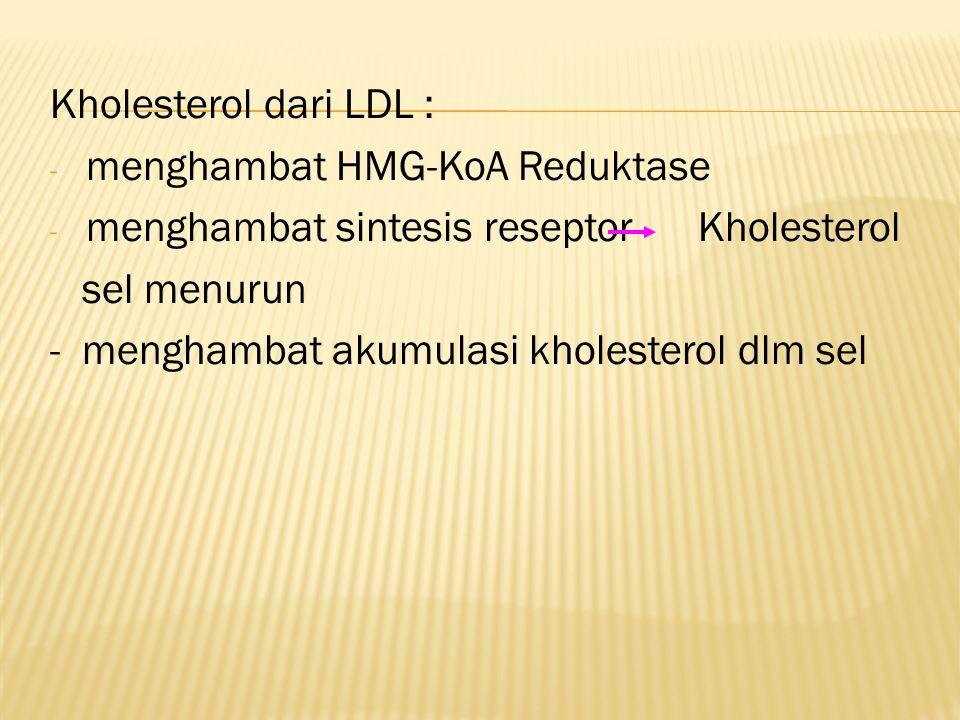 Kholesterol dari LDL : menghambat HMG-KoA Reduktase. menghambat sintesis reseptor Kholesterol.