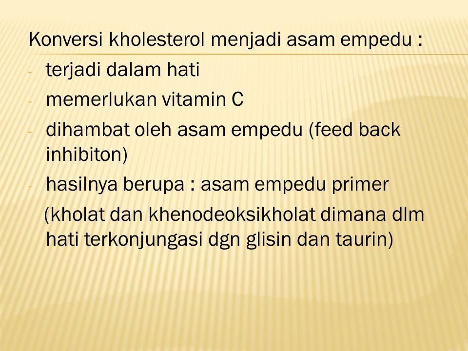 Konversi kholesterol menjadi asam empedu :