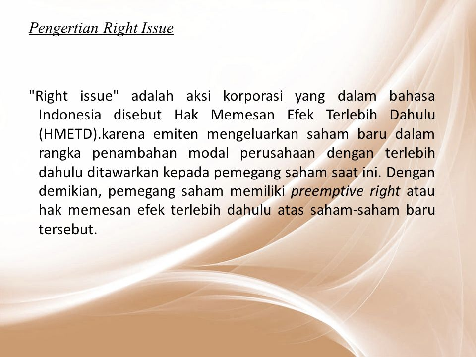 Pengertian Right Issue