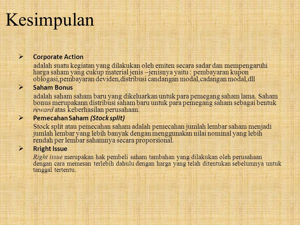 Kesimpulan Corporate Action