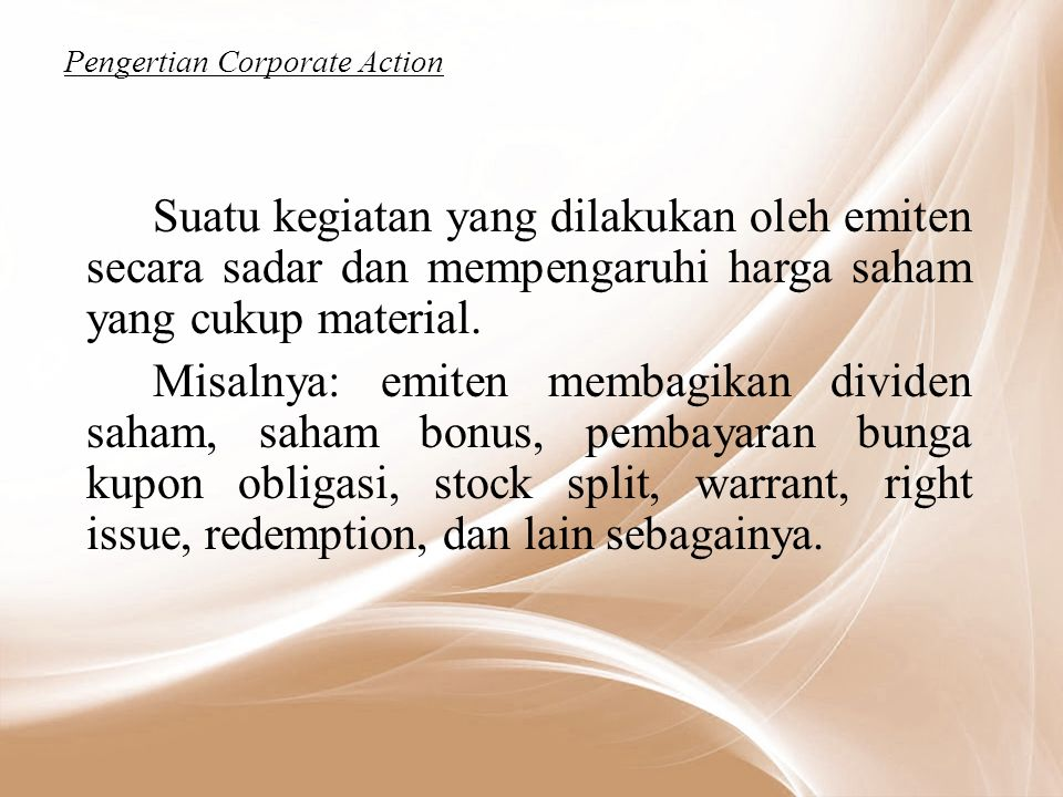 Pengertian Corporate Action