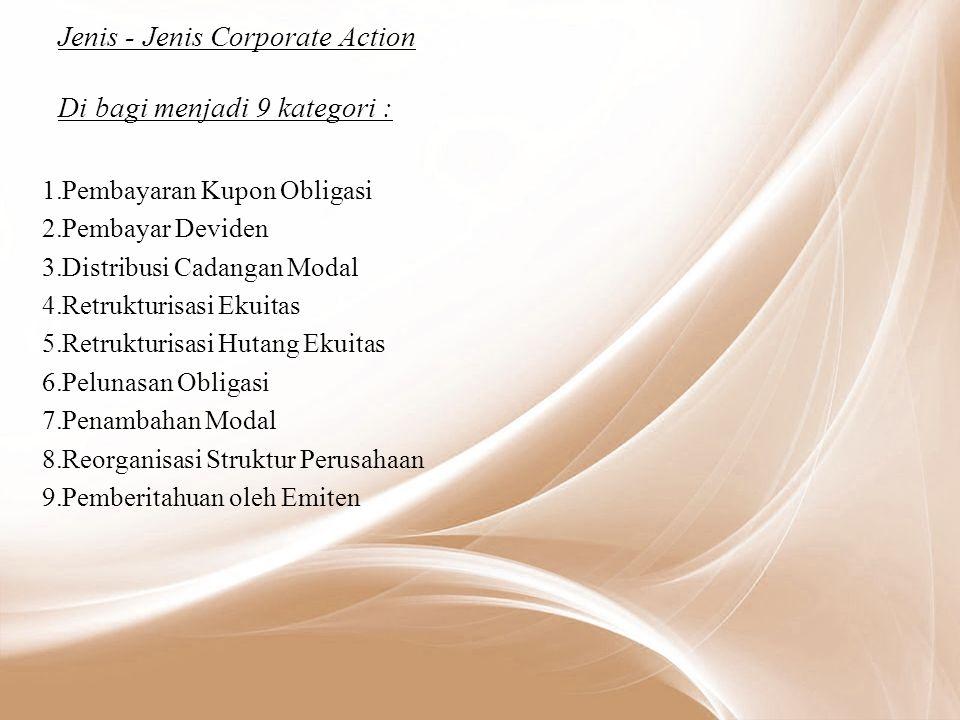 Jenis - Jenis Corporate Action Di bagi menjadi 9 kategori :
