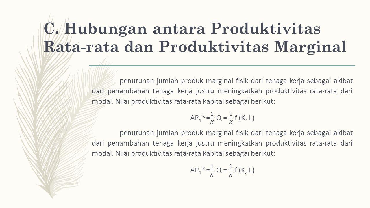 C. Hubungan antara Produktivitas Rata-rata dan Produktivitas Marginal