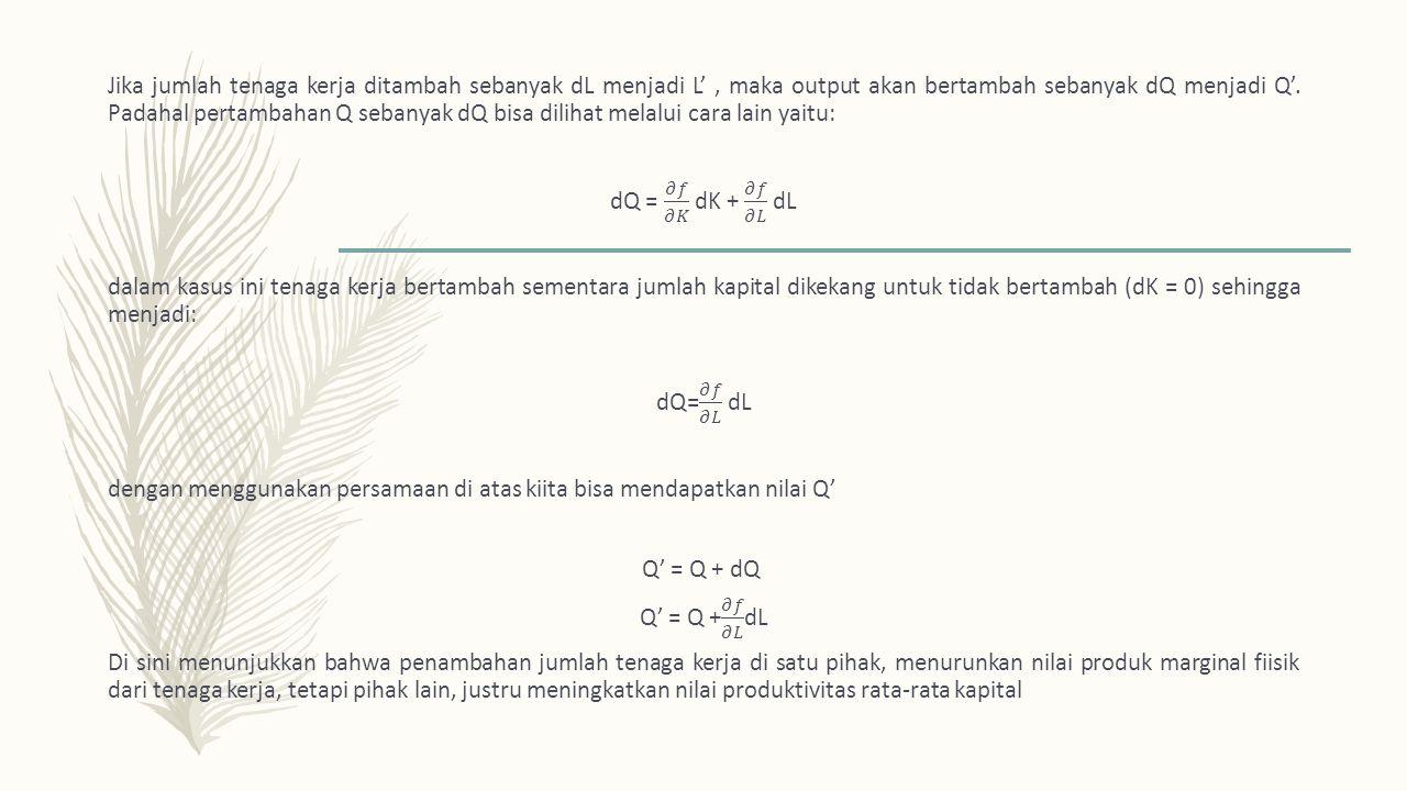 Jika jumlah tenaga kerja ditambah sebanyak dL menjadi L' , maka output akan bertambah sebanyak dQ menjadi Q'.