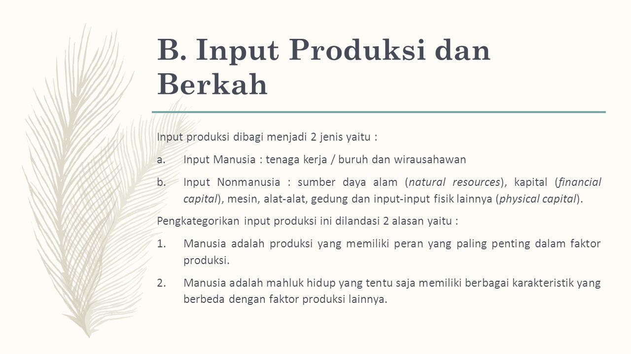 B. Input Produksi dan Berkah