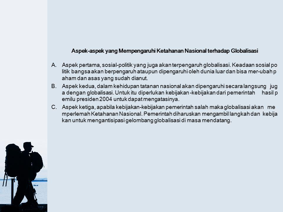 Aspek-aspek yang Mempengaruhi Ketahanan Nasional terhadap Globalisasi