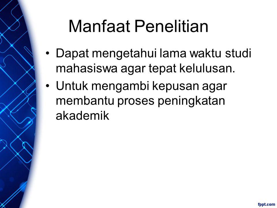 Manfaat Penelitian Dapat mengetahui lama waktu studi mahasiswa agar tepat kelulusan.