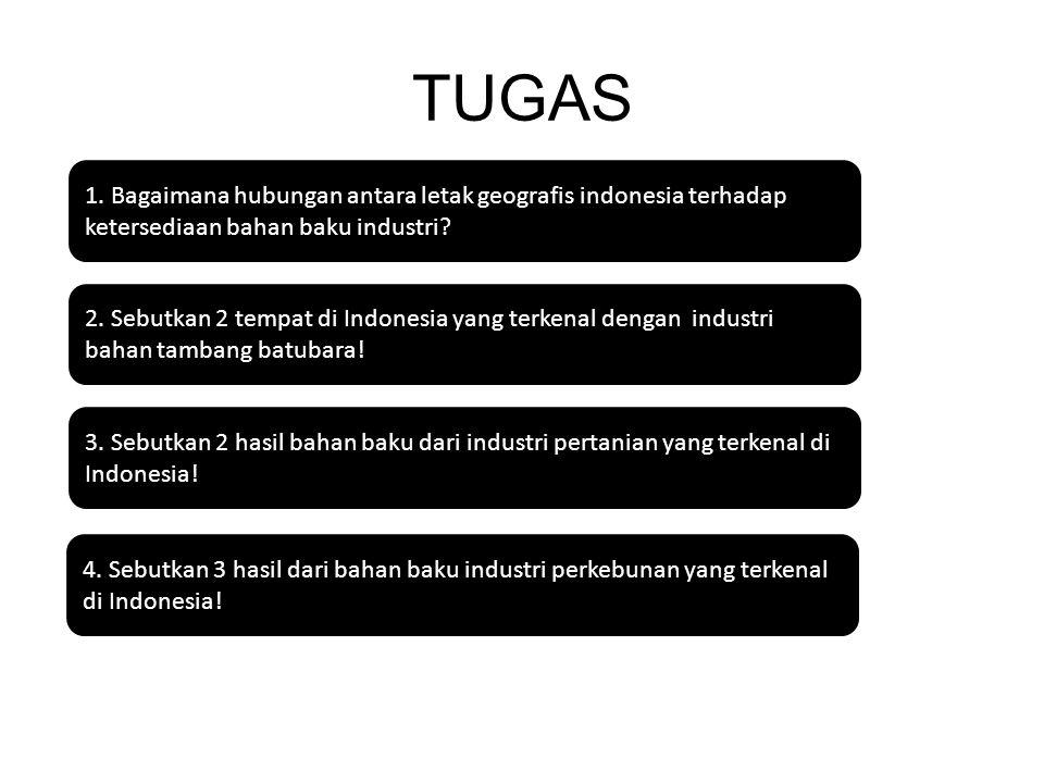 TUGAS 1. Bagaimana hubungan antara letak geografis indonesia terhadap ketersediaan bahan baku industri