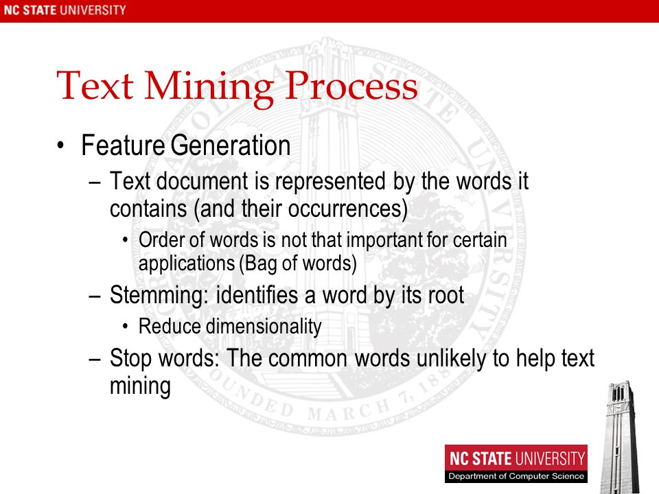 Text Mining Process Feature Generation