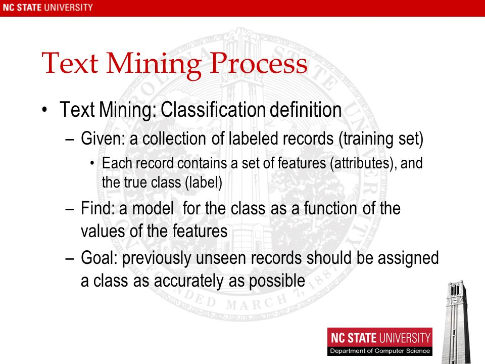 Text Mining Process Text Mining: Classification definition