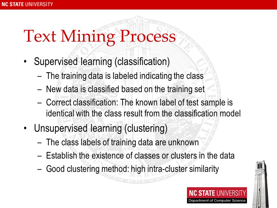 Text Mining Process Supervised learning (classification)