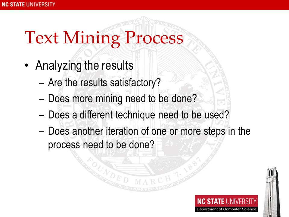 Text Mining Process Analyzing the results
