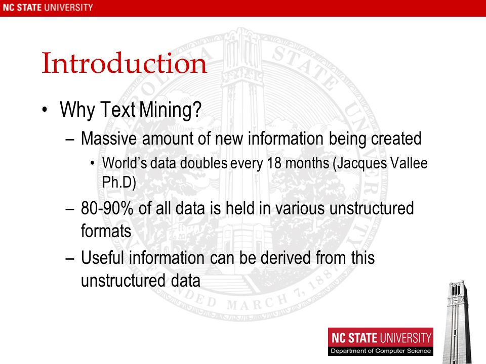 Introduction Why Text Mining