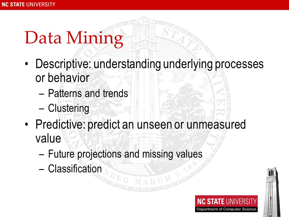 Data Mining Descriptive: understanding underlying processes or behavior. Patterns and trends. Clustering.