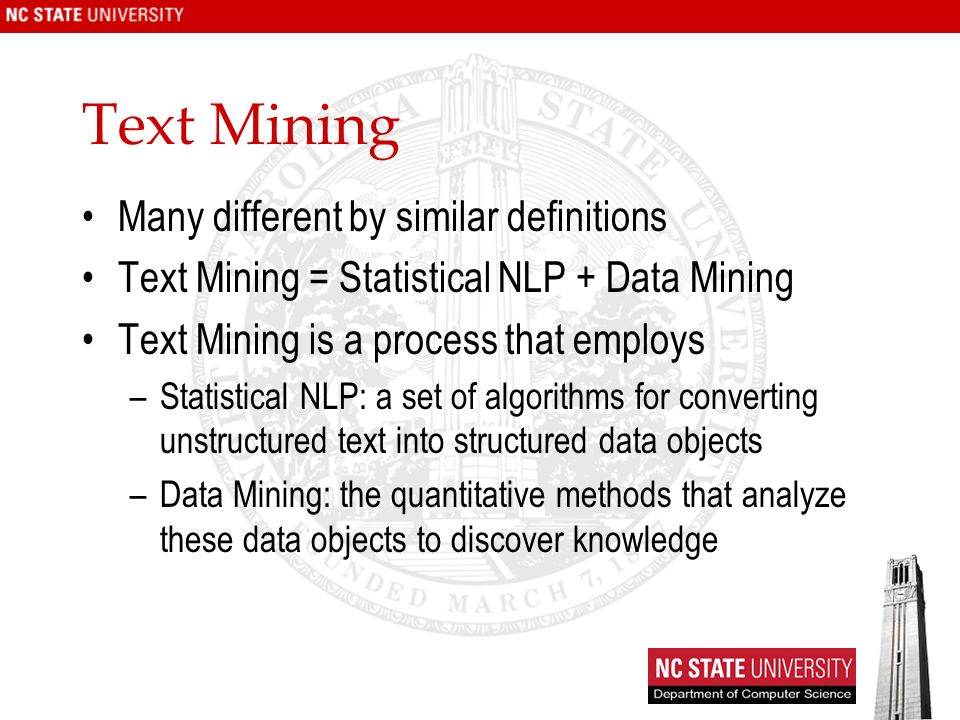 Text Mining Many different by similar definitions