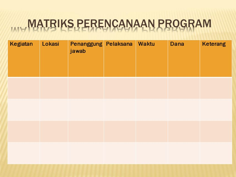 MATRIKS PERENCANAAN PROGRAM