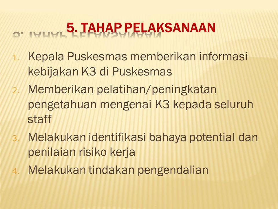 5. TAHAP PELAKSANAAN Kepala Puskesmas memberikan informasi kebijakan K3 di Puskesmas.