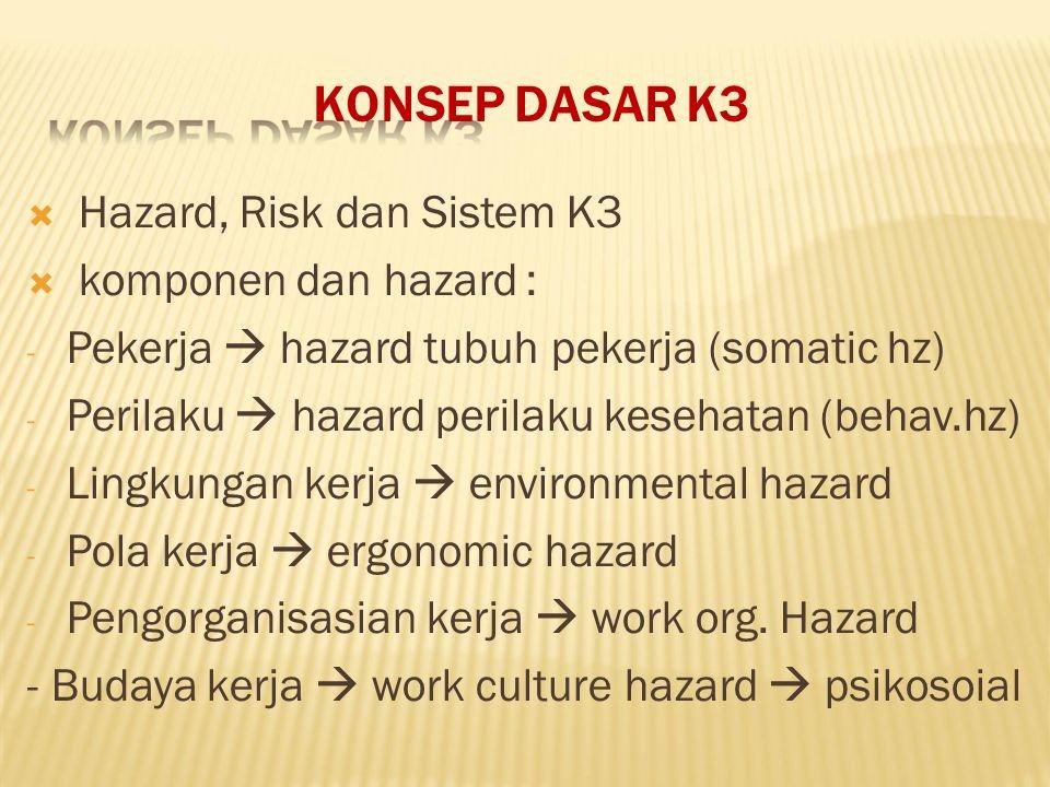 KONSEP DASAR K3 Pekerja  hazard tubuh pekerja (somatic hz)