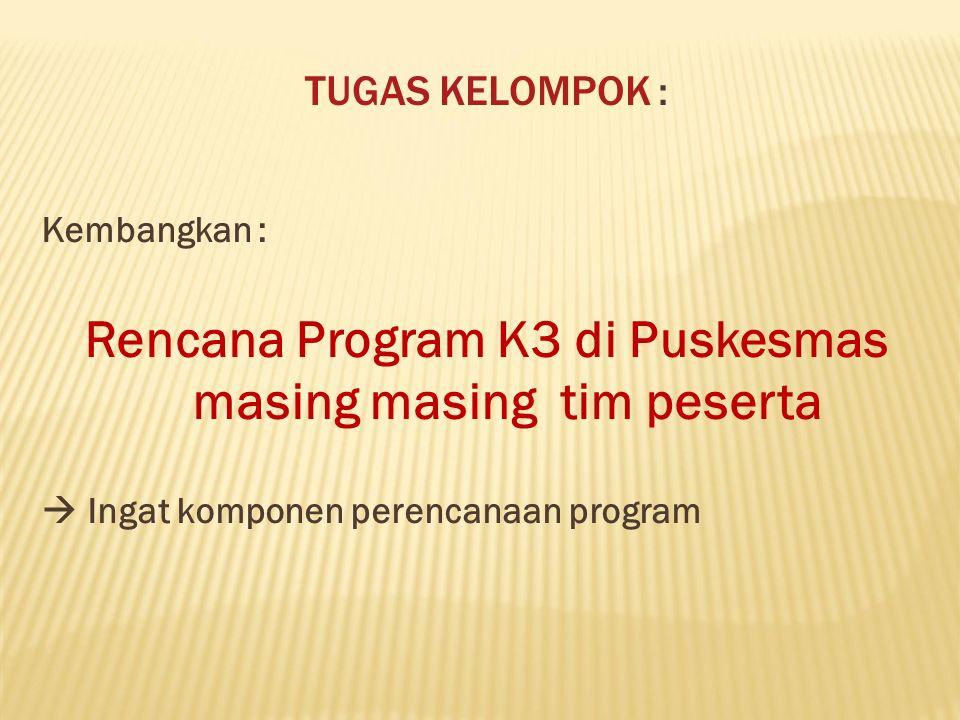 Rencana Program K3 di Puskesmas masing masing tim peserta