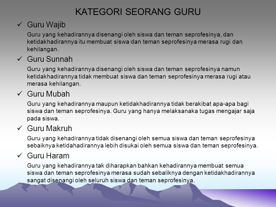 KATEGORI SEORANG GURU Guru Wajib Guru Sunnah Guru Mubah Guru Makruh