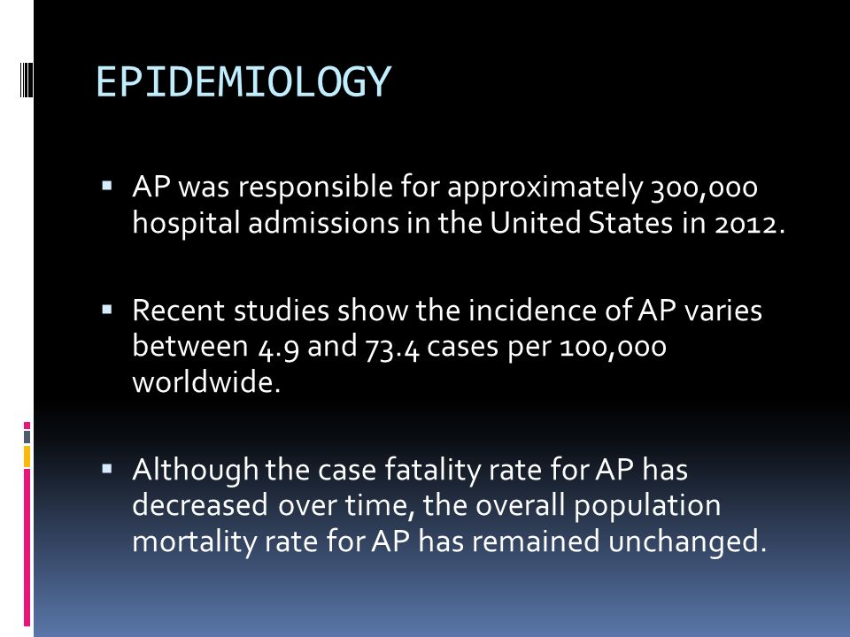 EPIDEMIOLOGY AP was responsible for approximately 300,000 hospital admissions in the United States in 2012.