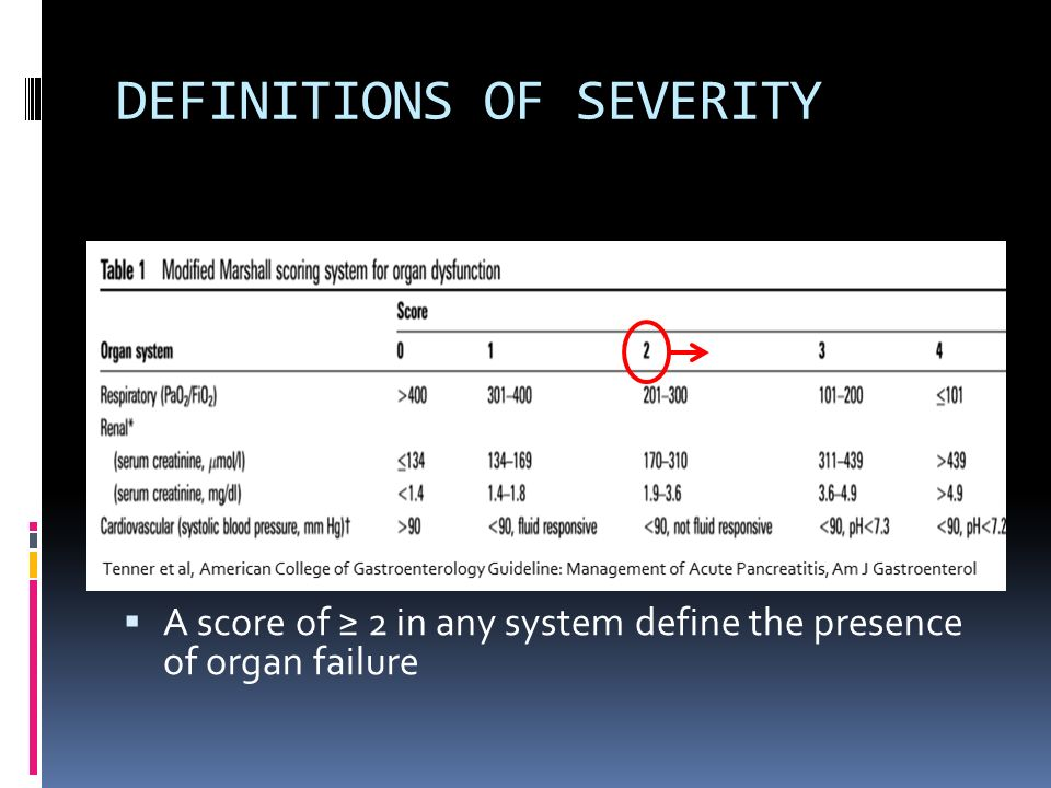 DEFINITIONS OF SEVERITY