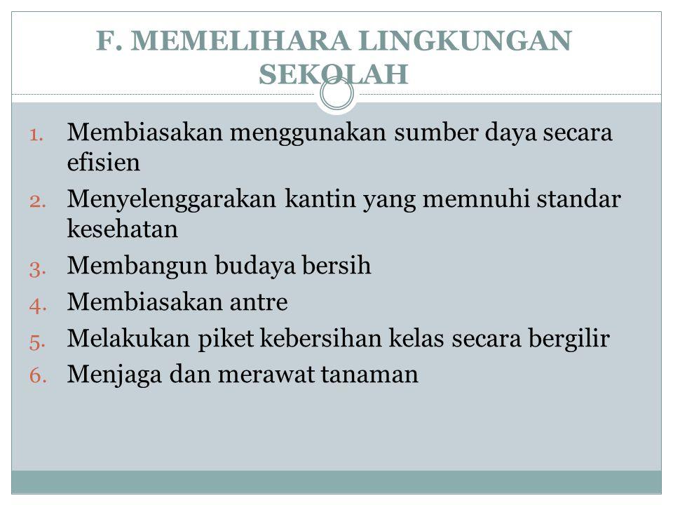 F. MEMELIHARA LINGKUNGAN SEKOLAH