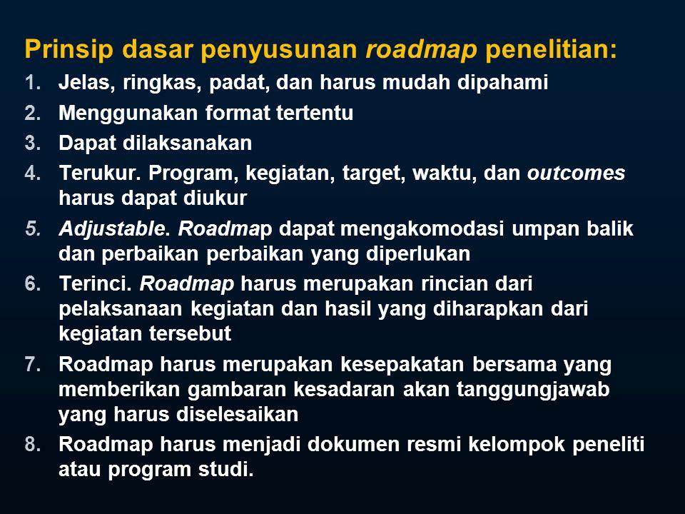 Prinsip dasar penyusunan roadmap penelitian:
