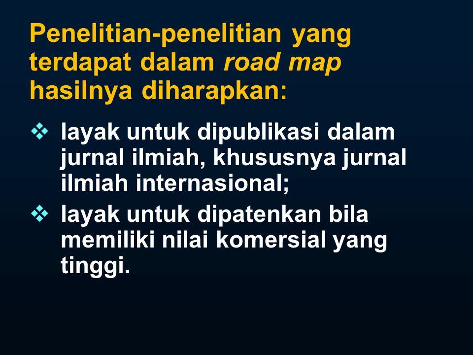 Penelitian-penelitian yang terdapat dalam road map hasilnya diharapkan: