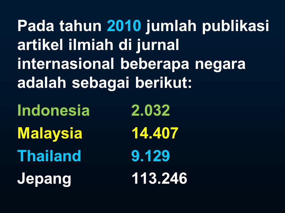 Pada tahun 2010 jumlah publikasi artikel ilmiah di jurnal internasional beberapa negara adalah sebagai berikut:
