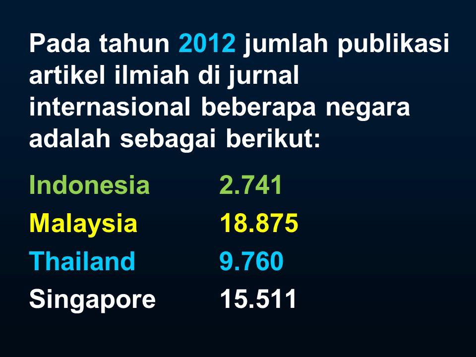Pada tahun 2012 jumlah publikasi artikel ilmiah di jurnal internasional beberapa negara adalah sebagai berikut: