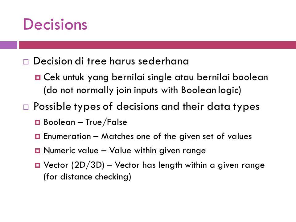 Decisions Decision di tree harus sederhana