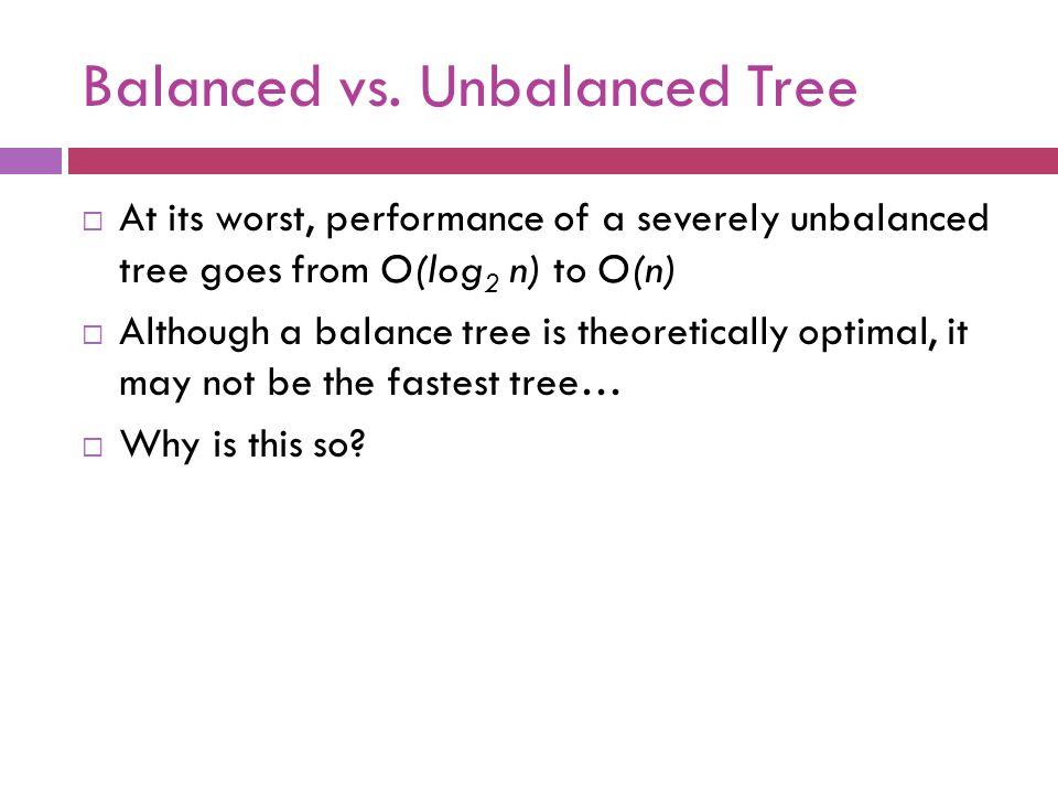 Balanced vs. Unbalanced Tree