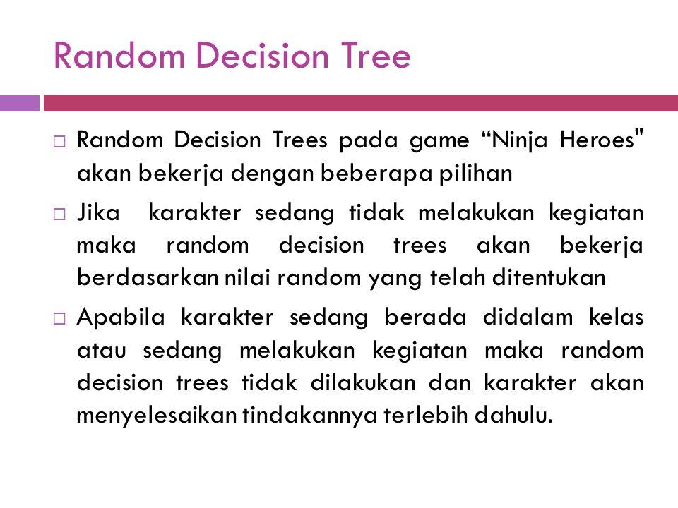 Random Decision Tree Random Decision Trees pada game Ninja Heroes akan bekerja dengan beberapa pilihan.