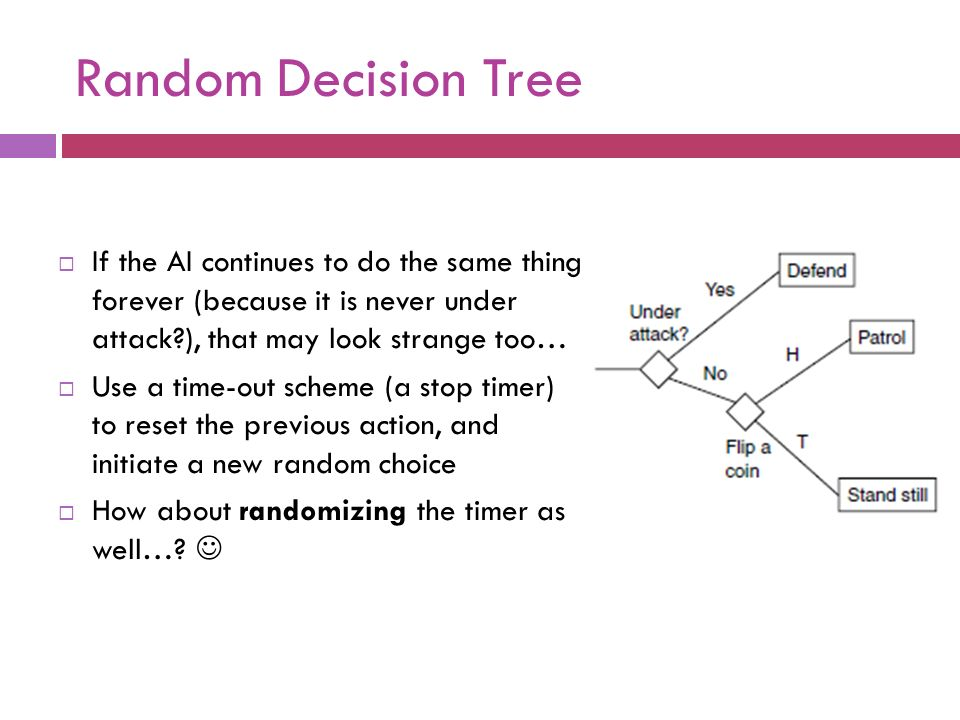 Random Decision Tree If the AI continues to do the same thing forever (because it is never under attack ), that may look strange too…