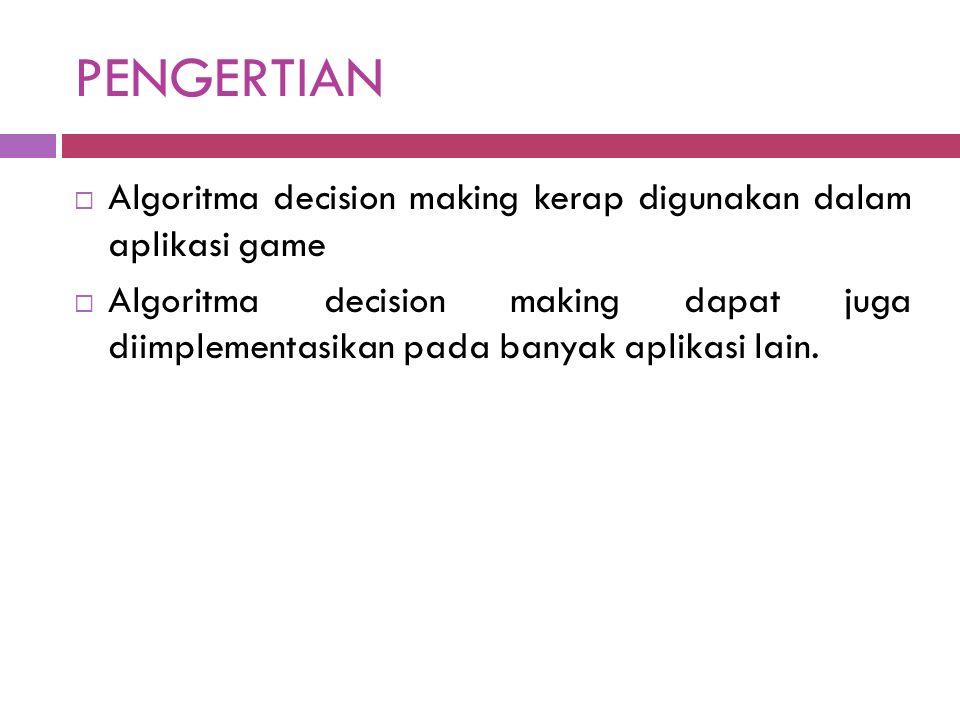PENGERTIAN Algoritma decision making kerap digunakan dalam aplikasi game.