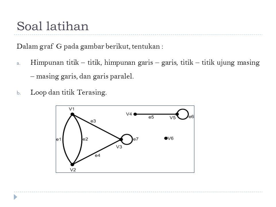 Soal latihan Dalam graf G pada gambar berikut, tentukan :