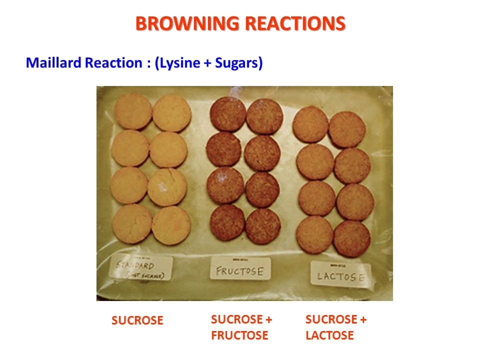BROWNING REACTIONS Maillard Reaction : (Lysine + Sugars) SUCROSE