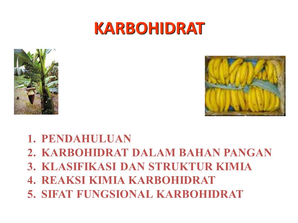 KARBOHIDRAT PENDAHULUAN KARBOHIDRAT DALAM BAHAN PANGAN